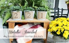 Create these adorable Stenciled DIY House Number Buckets perfect for your front door decor. Create a beautiful welcome to your home this fall.