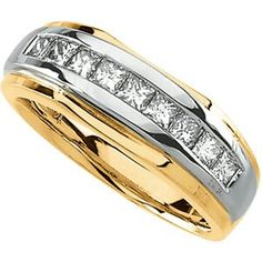 mens wedding ring two tone gold with channel set diamonds