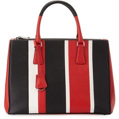 Prada Saffiano Baiadera Striped Galleria Tote Bag (€2.650) ❤ liked on Polyvore featuring bags, handbags, tote bags, red tote, zip tote bag, prada purses, zip tote and tote handbags