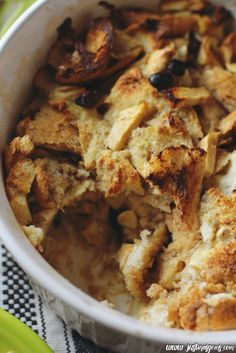 A delicious, low fat bread pudding recipe. There's not even butter in this recipe yet it's still ooey-gooey! It truly hits the spot without so many calories.