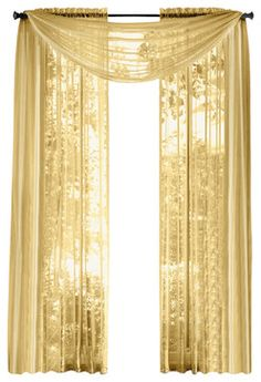 ME Pair Of Sheer Panels Window Treatment Curtains, Gold Traditional Curtains
