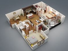 Two bedroom apartments are ideal for couples and small families alike. As one of the most common types of homes or apartments available, two bedroom spaces give just enough space for efficiency yet offer more comfort than a smaller one bedroom or studio. In this post, we'll show some of our favorite two bedroom apartment and house plans all shown in beautiful 3D perspective.