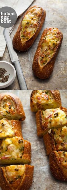 Baked Egg Boats from SpoonForkBacon Make these the night before and heat up for a quick breakfast. (Baking Eggs For Sandwiches) Breakfast Dishes, Breakfast Time, Breakfast Recipes, Think Food, Love Food, Egg Boats, Cocina Natural, Baked Eggs, Brunch Recipes