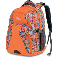 High Sierra Swerve Backpack, Taj Flowers/Orange, 19x13x7.75-Inch
