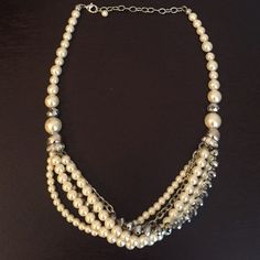 Loft Pearl and Silver Cluster Necklace A great statement piece necklace to dress up any outfit! Pearlized with silver finish. LOFT Jewelry Necklaces