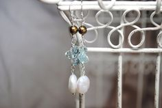 Freshwater Coin Pearl Earrings Aqua Quartz by BGBJewelry on Etsy, $20.00