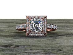 Asscher Cut Diamond Art Deco Square Halo Engagement Ring Diamond Half Eternity 14K Rose Gold
