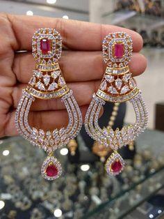 Jewelry OFF! Gorgeous Chandbali Earrings with American Diamonds Rubys Stones Gold) - Traditional and Fashion Indian Wedding Jewelry Real Gold Jewelry, Fancy Jewellery, Stylish Jewelry, Modern Jewelry, Fashion Jewelry, Handmade Jewellery, Jewelry Design Earrings, Gold Earrings Designs, Ear Jewelry