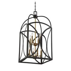 English bronze and warm brass make a beautiful pair in the new Bungalow Rose Yepez 8 Light Foyer Pendant.