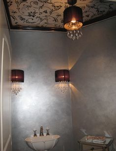 Planning to do a silver ceiling in one bathroom like walls here.   Project by Terry Hansen of Art by Terry with Flourish Allover stencil on ceiling.