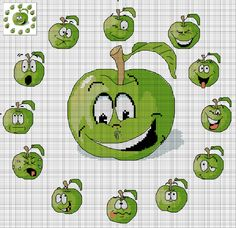 Cross-stitch Sour Apple Faces... no color chart available, just use the pattern chart as your color guide..   Вышивка.Яблочные часики.