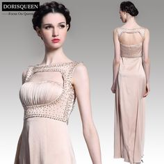 Free shipping ready to wear A-line champagne beads long evening dresses 2015/long homecoming dresses 31071