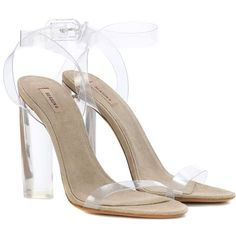 Yeezy Transparent Sandals (SEASON 6) ($735) ❤ liked on Polyvore featuring shoes, sandals, high-heel, neutrals, transparent shoes, high heel shoes, high heeled footwear, pvc shoes and clear sandals