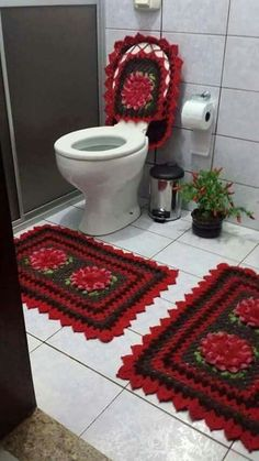 Banheiro de crochê.