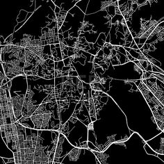 Mecca, Saudi Arabia, downtown vector map.  Art print pattern. White streets, railways and water on black. Bigger bridges with outlines. This map will ... ... #download #vector #map #stockimage #black #urban #area