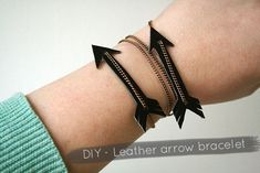 DIY - Leather arrow bracelet. I think that this would be a great Hunger Games craft!