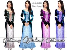 Medieval Disney Dresses by lenina_90 at Sims Fans via Sims 4 Updates