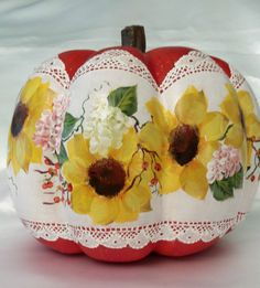 """Hand Painted Pumpkin Halloween Fall  Cottage Chic Sunflowers Shabby Lace HP 7"""""""
