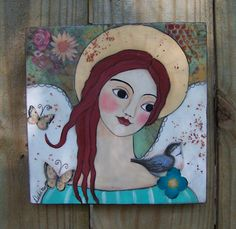 Folk Art Angel Encaustic Painting Original Mixed by Debidoodah, $45.00