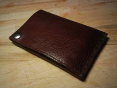 Leather One Snap Minimalist Wallet by Spearheaders on Etsy, $45.00
