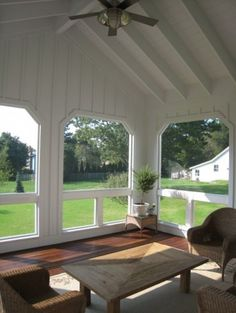 I love the country style of this screened porch, but also love how clean the design is.  No fussiness.
