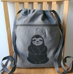 Sloth Screen Printed Canvas Backpack by catbirdcreatures on Etsy, $18.00
