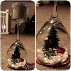 Wine glass Snow globe candle holder!