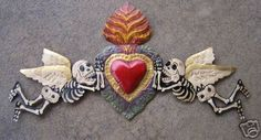 Tin Day of the Dead Door Ornament with Angels RED Sacred Heart, Brown Patina Mexican Artwork, Mexican Folk Art, Memento Mori, All Souls Day, Tin Art, Mexican Designs, Seen, Trendy Tattoos, Metal Crafts