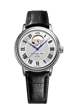 Raymond Weil stainless steel Maestro with an automatic open balance wheel. #Raymondweil #watches