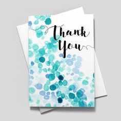 business thank you cards Brilliant watercolor dots in shades of blue accent the Thank You greeting on this unique card design. The dot pattern continues onto the back of the car Thank You Greeting Cards, Business Thank You Cards, Handmade Thank You Cards, Thank You Greetings, Handmade Birthday Cards, Greeting Cards Handmade, Unique Cards, Creative Cards, Thank You Card Design