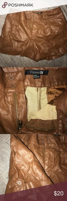Brown leather-like short Brown short. Leather-like. Forever 21 Forever 21 Shorts