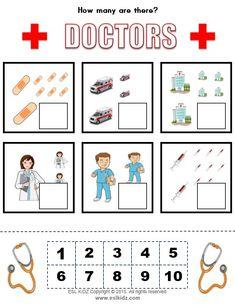 Health Activities, Counting Activities, Preschool Worksheets, Preschool Activities, Junior Doctor, Doctor For Kids, Kids Z, Community Helpers, Activity Centers