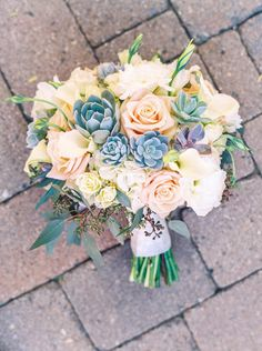 Pastel Wedding Bouquet with Succulents / Photo by Melissa Jill Photography Wedding Bouquets With Succulents, Wedding Bouquet Blue, Blue Succulents, Pastel Bouquet, Wedding Flowers, Succulent Bouquet, Floral Wedding, Pastel Wedding Colors, Wedding Bells