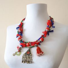 Red Necklace with Afghan Kushi Red Necklace, Boho Jewelry, Bohemian Jewelry