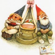 Art Print by Rien Poortvliet Gnome elf David and Lisa  baby twins