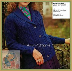 bad69cc292abc9 PDF Knitting Pattern for a Ladies Roll Collared Aran Jacket or Cardigan -  Instant Download Knitting
