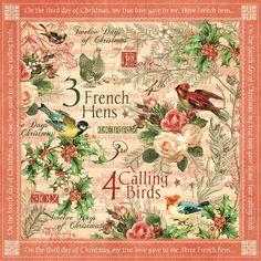 Graphic 45-12 Days of Christmas Collection - 12x12 Dubbelzijdig fotopapier - het roepen van Vogels