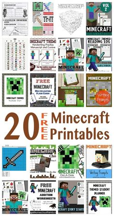 Free Minecraft Printables from our friends for Learning with Minecraft