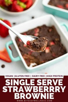 Single serve brownies with strawberries are the perfect healthy dessert! These gluten free, vegan brownies are made without any eggs or dairy! This high protein sweet treat is perfect for dessert or as a post workout snack!