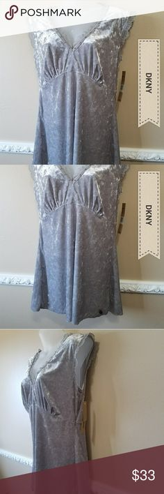 """NWT. DKNY Jeans Top SZ M Casual cute siver/gray velour top. Has lace trim and tiny pearls around neckline and arm openings (pic 5). Very soft & stylish top.  Approx flat lay measurements Chest      16.25""""   (Armpit-Armpit) Waist       15"""" Length     27.5"""" DKNY Tops"""