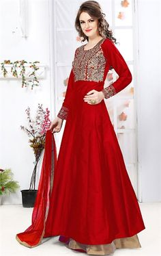 Picture of Admirable Red Latest Lehenga Kameez
