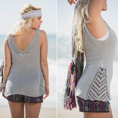 With openwork lace at its sides, neckline, and back, the Kingston Tank knitting pattern will keep you cool on a hot day. The nupps are a defining feature of Estonian lace that you can master as you make this tank. Mens Knit Sweater Pattern, Sweater Knitting Patterns, Lace Knitting, Crochet Blouse, Crochet Top, Knitted Tank Top, Knit Tops, Summer Knitting, Top Pattern