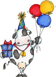 Best Ideas For Birthday Ilustration Men Happy Cow Birthday, Birthday Clips, Animal Drawings, Cute Drawings, Cute Clipart, Happy Birthday Images, Happy B Day, 3d Prints, Penny Black