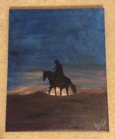 Sunset Cowboy 16 x 20 Painting Acrylic on by ShonaWilliamsArt
