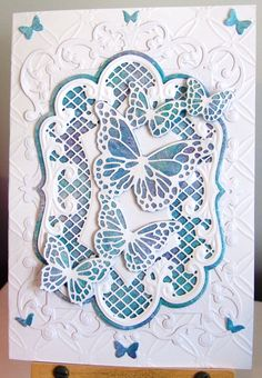 Birthday card made for a dear friend using Memory Box Butterfly Exhibit die, Marianne Designs and Spellbinders dies
