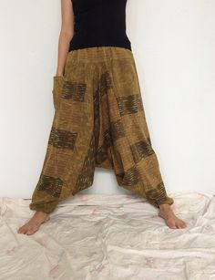 Yellowish Green Brown Hippie Harem Pants, Unisex Pants, Drop Crotch Pants with Leaf patterned (HR-298)