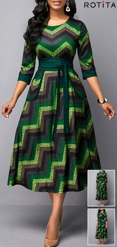Multi-colored printed dress with round neck and belt Best African Dresses, Latest African Fashion Dresses, African Print Dresses, African Print Fashion, African Attire, Women's Fashion Dresses, Ankara Fashion, Africa Fashion, African Prints