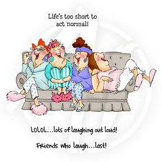 Shop for Art Impressions Girlfriends Cling Rubber Stamp-Comfy On The Couch. Get free delivery On EVERYTHING* Overstock - Your Online Scrapbooking Shop! Old Lady Humor, Desenho Pop Art, Art Impressions Stamps, Old Folks, Crazy Friends, Under My Umbrella, Funny Cards, Friends Forever, Laugh Out Loud