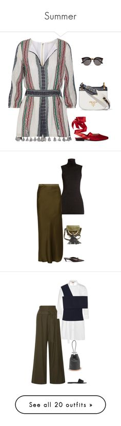 """""""Summer"""" by stacy-hardy ❤ liked on Polyvore featuring Alice + Olivia, Prada, MR by Man Repeller, Illesteva, Calvin Klein Collection, Nili Lotan, Balmain, Balenciaga, Brunello Cucinelli and Burberry"""