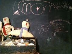 Chalkboard wall from reader Justina Peper of Primitively #chalkboard #decor #studio #workspace